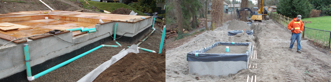 Downspout and footing drain installation, Glendon biofilter